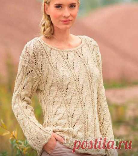 Ажурный пуловер с вертикальным узором из кос схема спицами