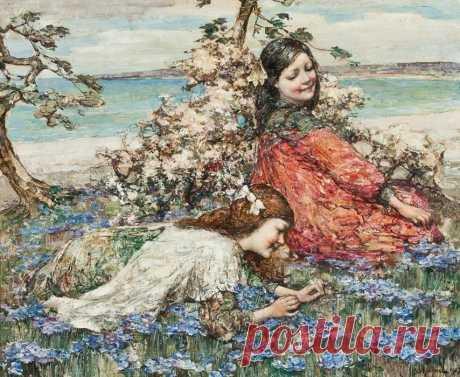 Edward Atkinson Hornel (Scottish 1864-1933)...Женщина, девушка, девочка Мир за собою ведет.