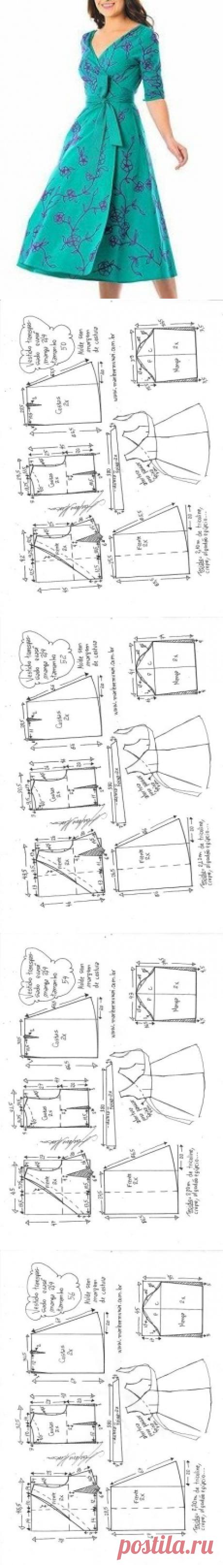 Vestido transpassado evasê com manga 2/4 - DIY - molde, corte e costura - Marlene Mukai