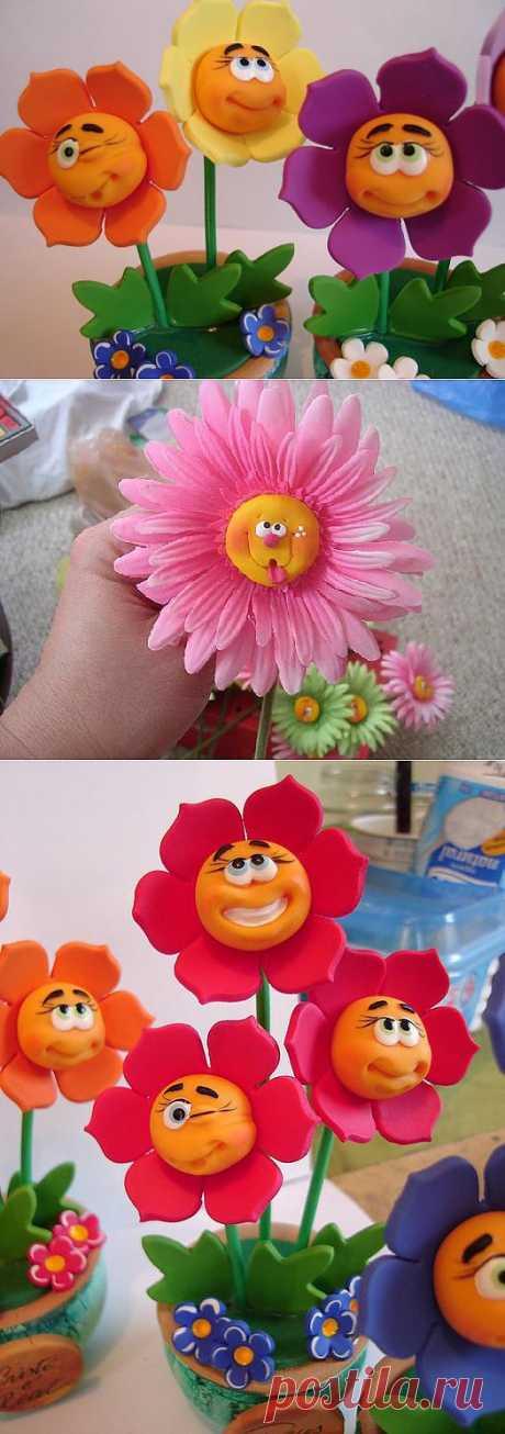 Идеи для лепки из полимерной глины. Веселые цветочки:).
