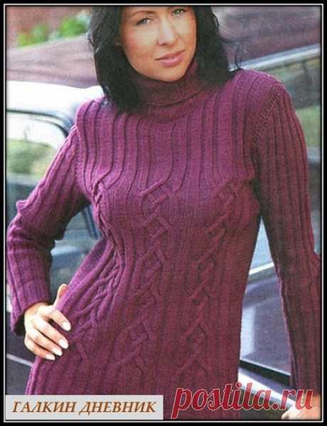 Женский свитер спицами с узором из аранов
