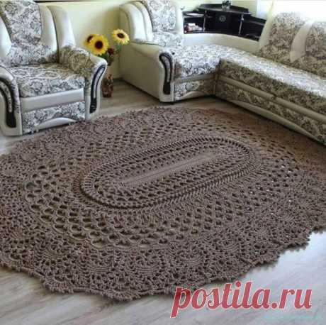 Вязаный коврик крючком. — Красивое вязание