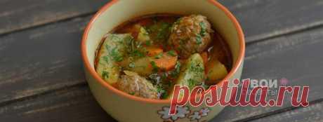 Картофель в томатном соусе с фрикадельками