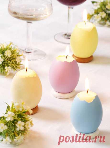 Пасхальные яйца-свечи для украшения праздничной сервировки стола.
