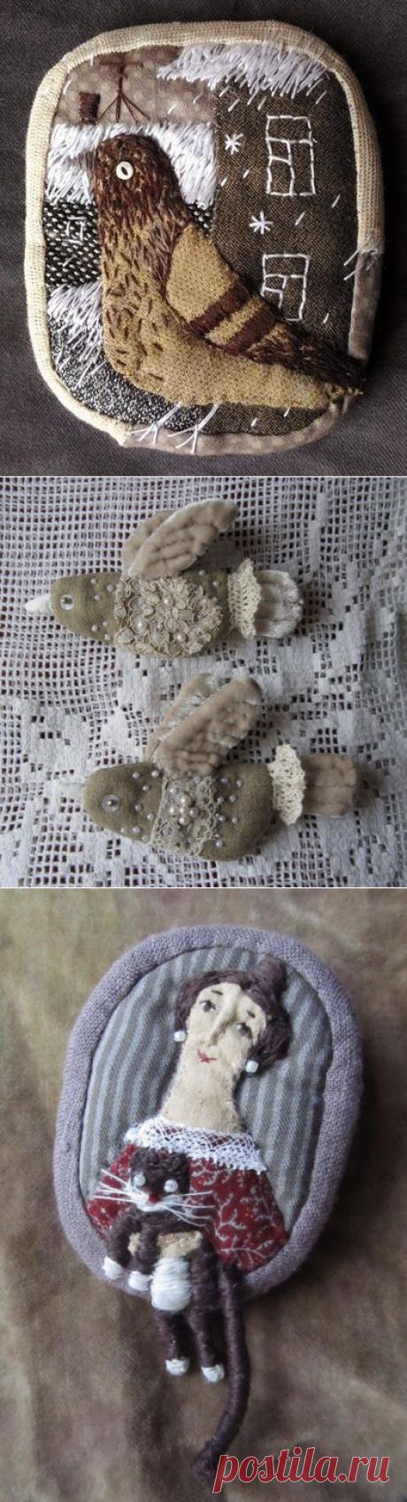 Текстильные броши Елены Пинталь
