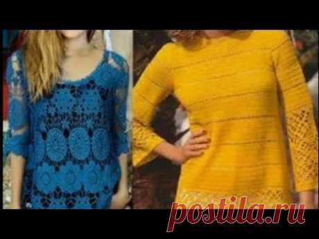 Женские туники крючком со схемами - Women's crocheted tunics with patterns