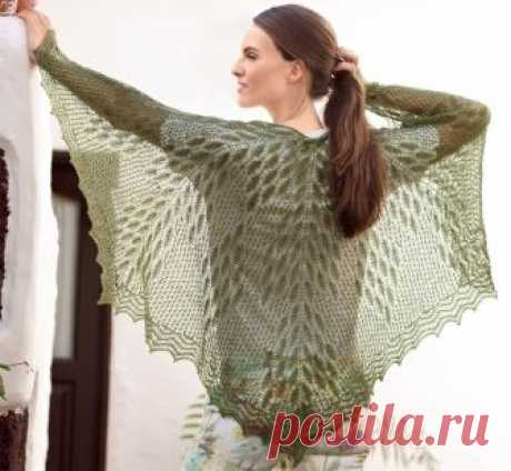 Красивая ажурная шаль с растительным узором — HandMade