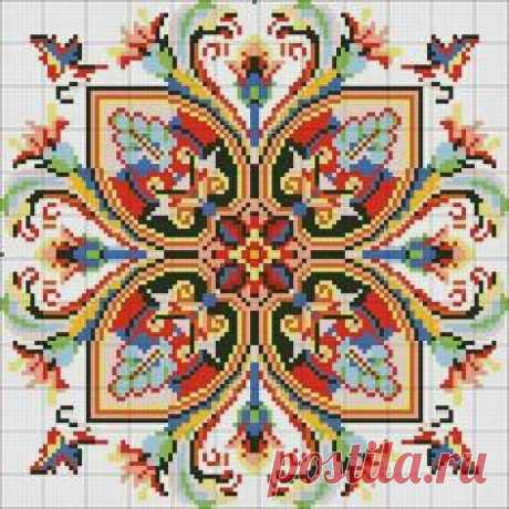 Схема вышивки крестиком бисером подушки