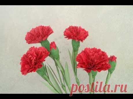Как сделать Красная гвоздика бумаги цветок из гофрированной бумаги - Craft Урок 2