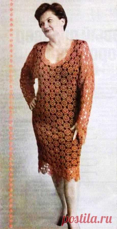 платье фрамменто из мотивов, крючком