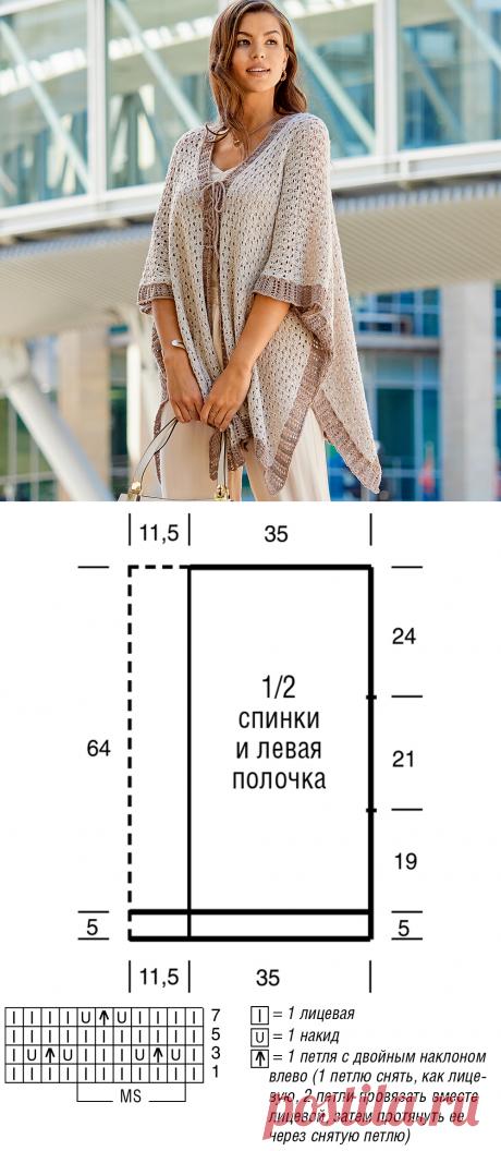 Жакет-накидка с шнуровкой - схема вязания спицами с описанием на Verena.ru