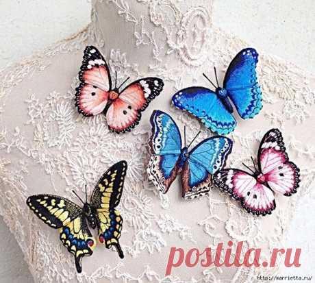Объёмная вышивка - бабочки