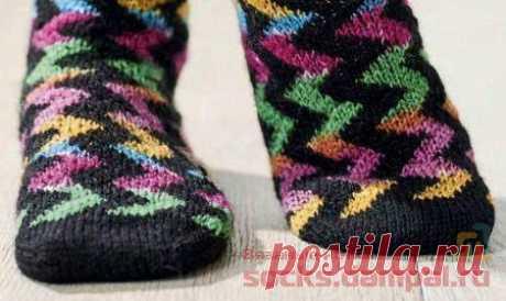 Вязаные носки «Zigzags» | ВЯЗАНЫЕ НОСКИ