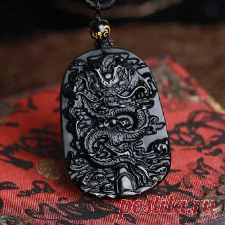Тонкой резьбой китайский натуральный черный обсидиан резные дракон черный нефрит кулон купить на AliExpress