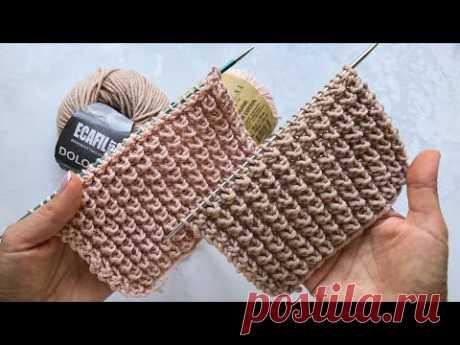 Супер узор! 🔥 Шикарный и простой объёмный патентный узор спицами для кардиганов, снудов, свитеров.
