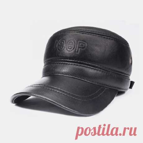 Men Genuine Leather Large Brim Flat Top Plus Thickness Cotton Keep Warm Ear Prot - US$36.99