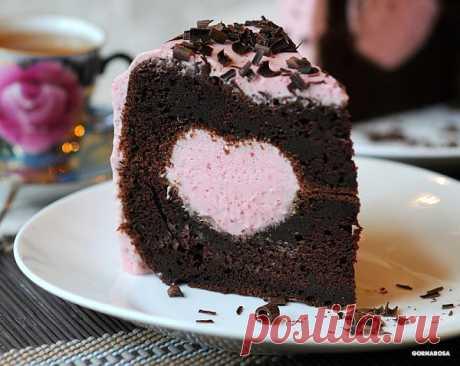 Gornarosa — Шоколадный кекс с клюквенным муссом. на Яндекс.Фотках