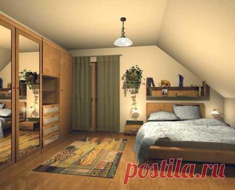 Отличные идеи интерьера мансардной спальни.