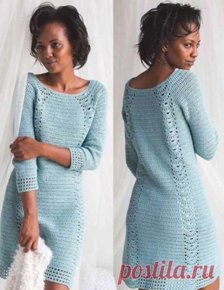 Вяжем крючком платье Tranquil от Crochet простое и элегантное с ажурными дорожками – схема и мастер-классы на видео