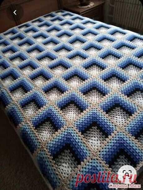 Отличная идея для вязания пледа + схема