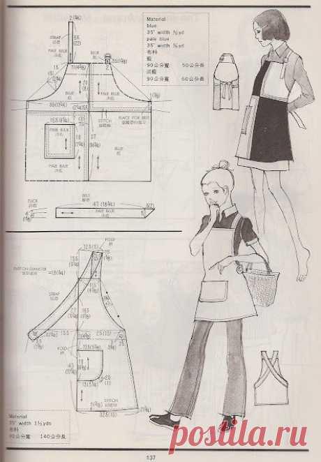 Выкройки фартуков Милые винтажные выкройки фартуков: