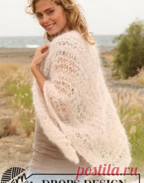 Вязание платка из мохера.