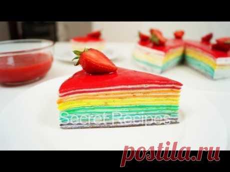 IRIDESCENT CAKE FROM PANCAKES. DELIGHTFUL PANCAKE CAKE | RAINBOW CAKE