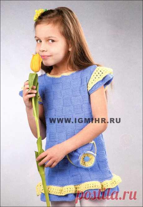"""Платье с оборками и """"крылышками"""" для девочки 5-6 лет. Спицы"""