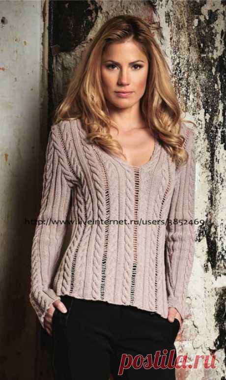 Пуловер с косами из пряжи цвета розового дерева