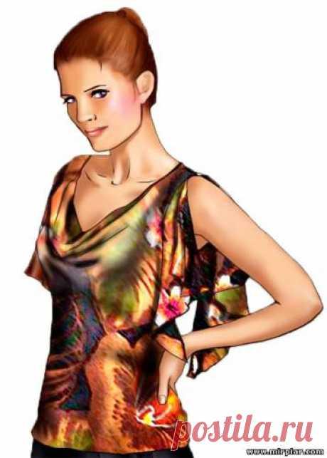 (+2) Летняя блузка или топ с драпировкой качели (шитье, выкройки)