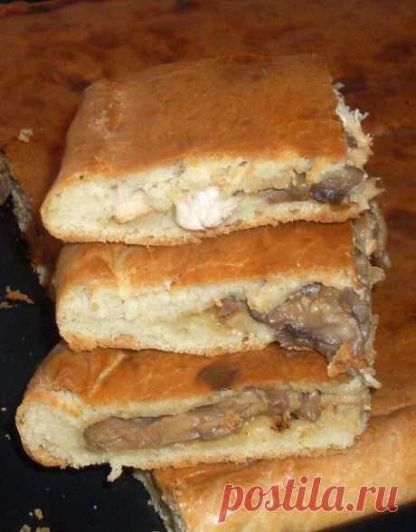 Пирог с курицей и грибами из бездрожжевого теста на кефире   Четыре вкуса
