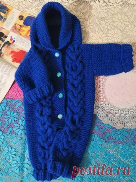 Комбинезон спицами для новорожденного от 0 до з-х месяцев. из категории Мои работы – Вязаные идеи, идеи для вязания