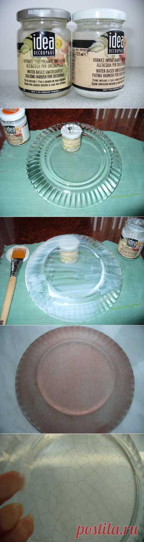 Мастер-класс по созданию кракле на стеклянной тарелочке.