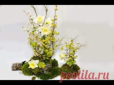 Флористика Весенняя композиция своими руками (Мастер Класс) Flower design. Floral.