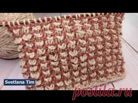 Узоры Спицами Вязание. Простой Двухцветный узор спицами легко вяжется. Beautiful knitting № 630