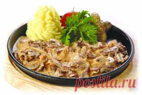 Бефстроганов с грибами и сливками — Sloosh – кулинарные рецепты