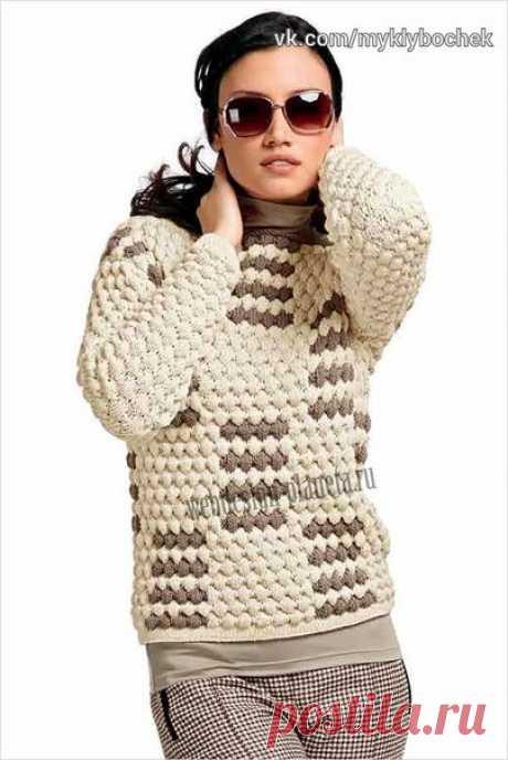 Женский свитер спицами с фантазийным узором #вязание #спицами