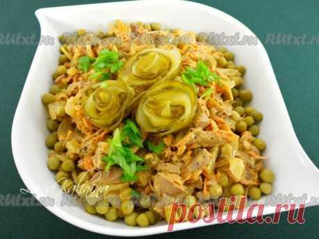 """Салат """"Обжорка"""" с печенью от Елены Калининой  Сытный, очень вкусный, простой в приготовлении салат """"Обжорка"""" с печенью обязательно Вам понравится! Его можно приготовить к ужину, это блюдо вполне подойдет и для праздничного стола. Попробуйте! Для приготовления салата """"Обжорка"""" понадобится: печень (куриная, свиная, говяжья) - 450 г; Показать полностью..."""
