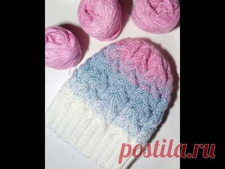 How to connect a cap by spokes. A master class a cap with braids and a pompon. Knitting. Rynashko