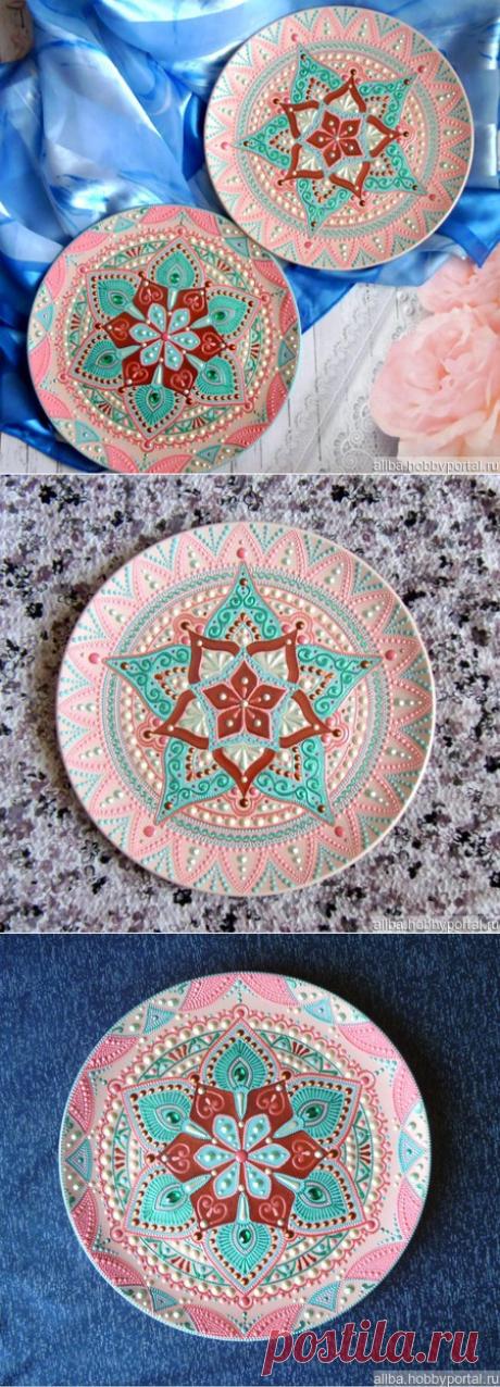 Декоративные тарелки пара керамика точечная роспись – купить в интернет-магазине HobbyPortal.ru с доставкой