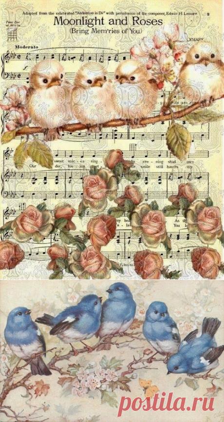 Artesanato e Cia: Figuras vintage. ¡Pássaros!