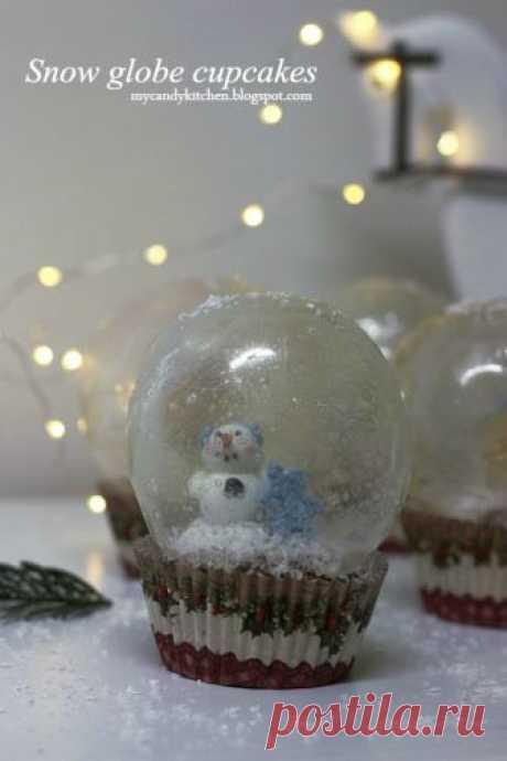 """Къпкейкс """"Снежни топки"""" / Snow globe cupcakes with gelatin"""