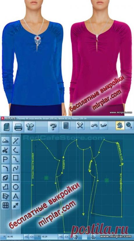 Пуловер реглан с драпировкой и вырезом острая капля Скачать бесплатные выкройки в натуральную величину в трех размерах  с MirPiar.com  free pattern, выкройка пуловера, pattern sewing, шитье