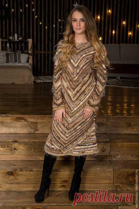 Купить Авторское вязаное платье''NOBLE BEIGE'' - бежевый, в полоску, вязаное платье, теплое платье, нарядное