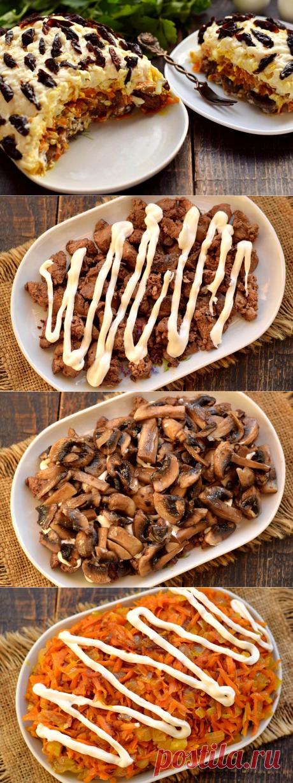 Слоеный салат с куриной печенью, грибами и черносливом (без майонеза) Готовим слоеный салат на основе печени и шампиньонов. Салат получается очень сытным, поскольку грибы, печень и овощи перед раскладкой обжариваются в масле. При этом растительного … Читай дальше на сайте. Жми подробнее ➡