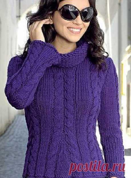 Пуловер спицами с ажурными косами. suéter, tejer, el esquema de conexión | Домоводство для всей семьи.