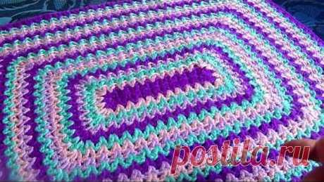 Коврик прямоугольный.Утилизируем остатки пряжи.Вязание крючком.Crochet And Knitting