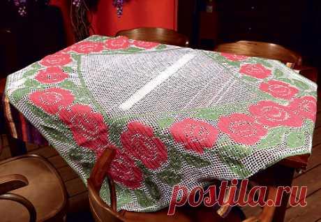 Маленькая скатерть с красными розами Маленькая филейная скатерть с красными розами. Схема вязания крючком