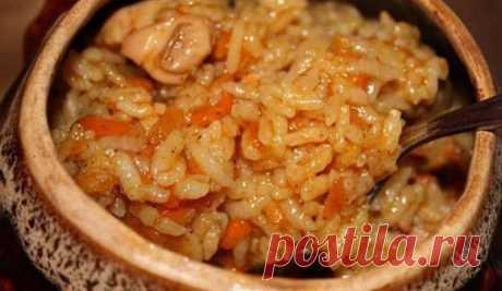 Рис с курицей в горшочке в духовке