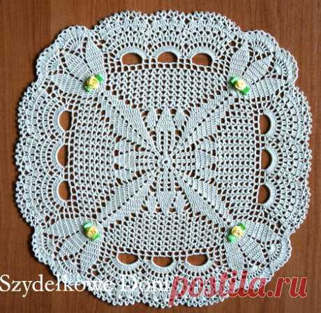 Салфетка с цветочнымквадратом Схема вязания круглой салфетки с цветочным квадратом в центре